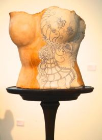 Love is a corset: compulsion. Ceramic with pen drawing. Price: £375.00